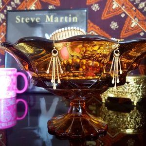 Modern retro gold geo starburst dangle earrings